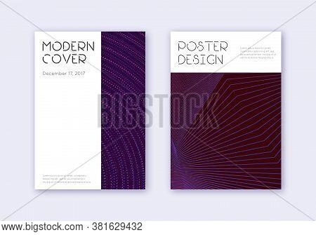Minimal Cover Design Template Set. Violet Abstract Lines On Dark Background. Decent Cover Design. Un