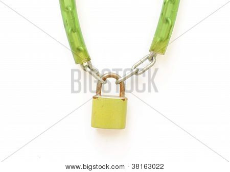 Metal Padlock With Key And Chain