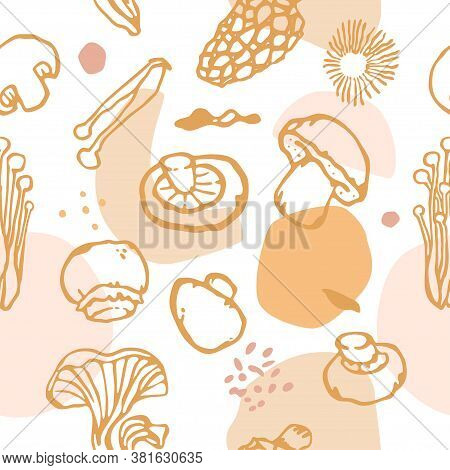 Mushroom Style Seamless Pattern. Spores, Shapes, And Edible Mushrooms With Transparent Background. P