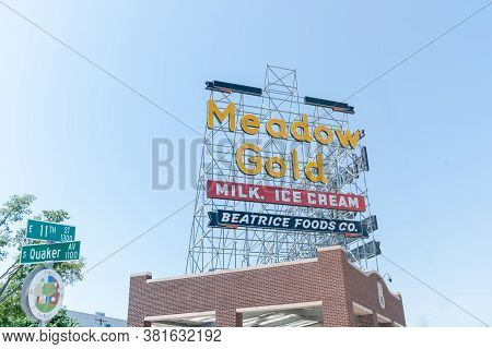 Tulsa Usa - September 8 2015; Restored Meadow Gold Neon Sign Above Building On Corner 11th Street An