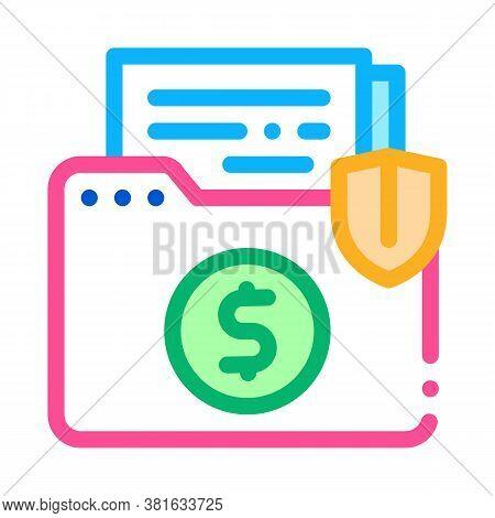 Insurance Agreement Folder Icon Vector. Insurance Agreement Folder Sign. Color Symbol Illustration