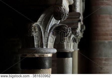 Albugnano, Italy - July 24, 2016 - Romanesque Capitals In The Abbey Of Santa Maria Di Vezzolano, In
