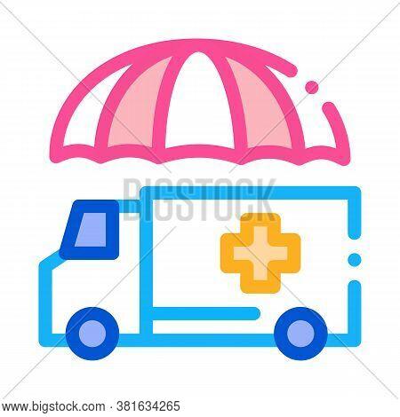 Emergency Ambulance Car Icon Vector. Emergency Ambulance Car Sign. Color Symbol Illustration