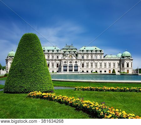Upper Belvedere Castle (schloos Belvedere) In Vienna, Austria. Detail Of The Formal Gardens In The P