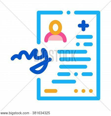 Insurance Agreement Medical Document Icon Vector. Insurance Agreement Medical Document Sign. Color S