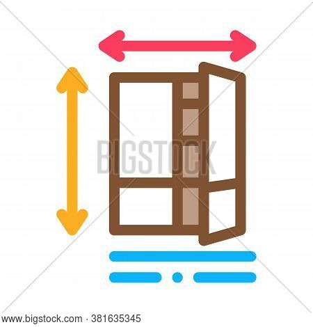 Cabinet Size Icon Vector. Cabinet Size Sign. Color Symbol Illustration