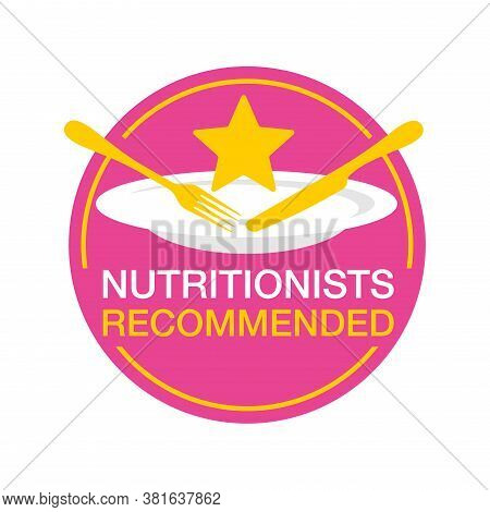 Nutritionists Recommended Emblem - Circular Stamp With Plate, Fork, Knife And Star - Hor Healty Diet