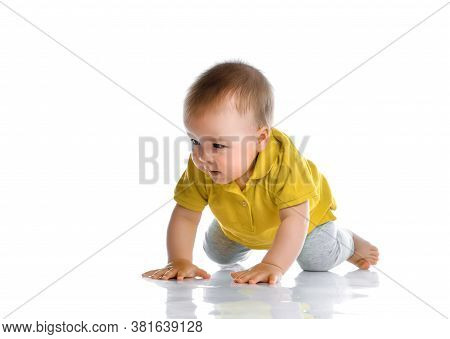 Little Baby Boy In Casual Clothes Crawling On Floor. Young Explorer Studio Portrait. Happy Intereste