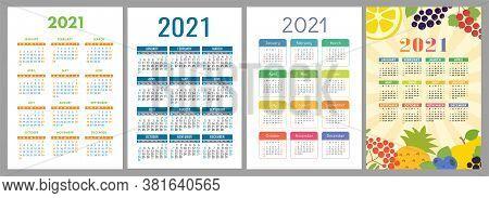 Calendar 2021. English Color Vector Set. Vertical Wall Or Pocket Calender Template. Design Collectio
