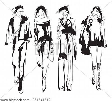 Beautiful Young Women In Modern Style.. Hand Drawn Stylish Woman Portrait. Fashion Lady. Festive Out