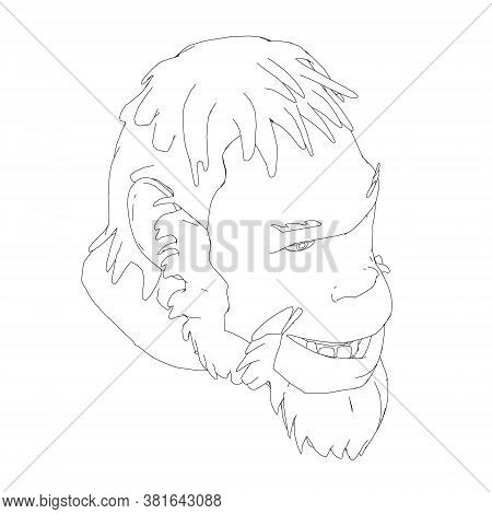 Contour Head Of A Neanderthal. Contour Head Of A Prehistoric Man. Isometric View. Vector Illustratio