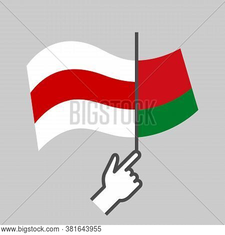 Flag Old To New. Protests In Belarus. Change Of An Authoritarian Dictatorial Regime. Democracy. New