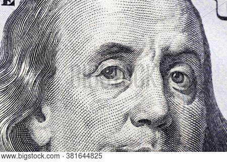 Close-up Of A Detail Of American Dollars With A Portrait Of The President, One Hundred Dollar Face V