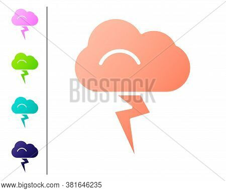 Coral Storm Icon Isolated On White Background. Cloud And Lightning Sign. Weather Icon Of Storm. Set