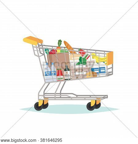 Supermarket Grocery Cart Full Of Different Groceries