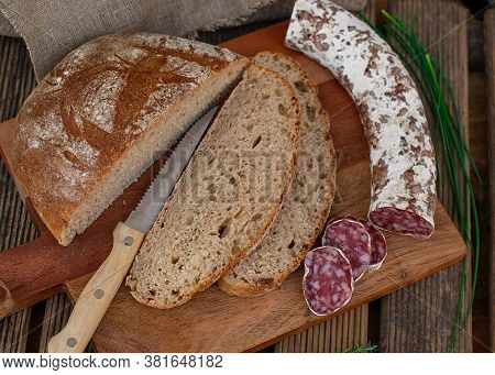 Healthy Homemade Sourdough Bread With Wholewheat Flour And Bran