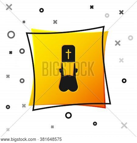 Black Priest Icon Isolated On White Background. Yellow Square Button. Vector Illustration