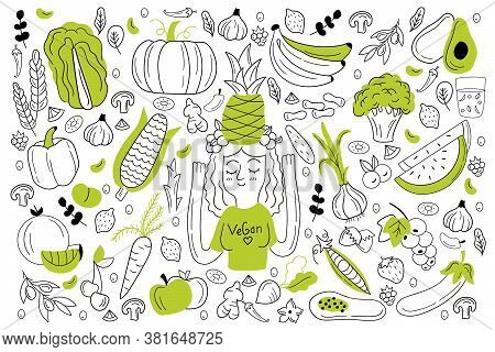 Vegan Food Doodle Set. Collection Of Hand Drawn Sketches Templates Of People Vegans Dieting Eating N