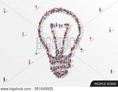 Large Group Of People Seen From Above Gathered Together In The Shape Of Lightbulb. Idea And Inspirat
