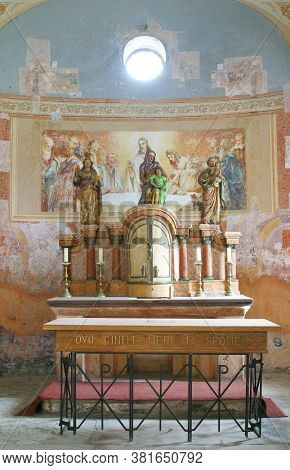 DESINIC, CROATIA - OCTOBER 18, 2013: The main altar in the chapel of Saint Anne in Desinic, Croatia