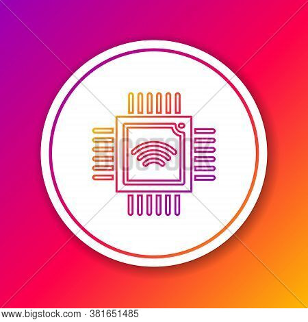 Color Line Computer Processor With Microcircuits Cpu Icon Isolated On Color Background. Chip Or Cpu