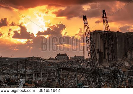 BEIRUT, LEBANON - AUG. 08, 2020: Dramatic Landscape of the Ruins After Nitrate Ammonium Explosion. Rubble after a Terrible Disaster Blast in the Port.