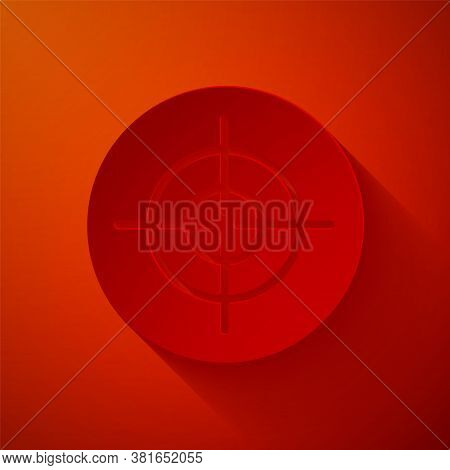 Paper Cut Target Sport Icon Isolated On Red Background. Clean Target With Numbers For Shooting Range