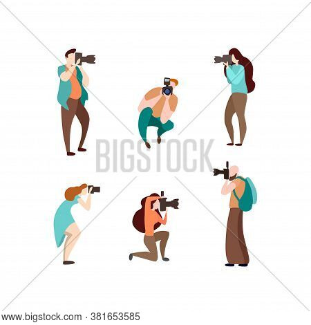 Set Of Various African American Poses Photographers And Using Cameras. Creative Profession Or Occupa
