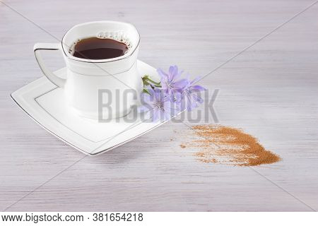 White Cup Of Chicory Drink Or Coffee With Chicory Flowers And Chicory Powder On A White Table. Healt