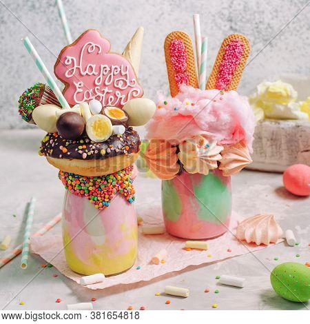 Two Easter Freak Shakes On Party Table