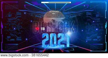 Digital Futuristic Techno Banner For 2021. Holographic Numbers 2021 In Cyber Space Of Interface In H