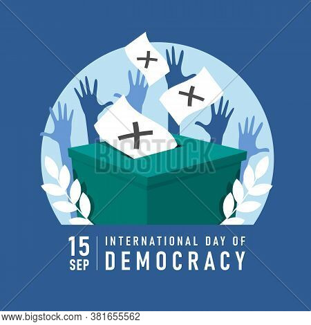 International Day Of Democracy Banner With Ballot Dropped Into A Box And Hands Was Raised Vector Des