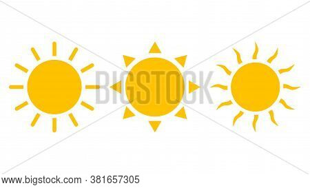 Sun Icons Vector Isolated On White Background. Shine Sun Ray Set. Sunshine Vector Sign. Sunset Icon