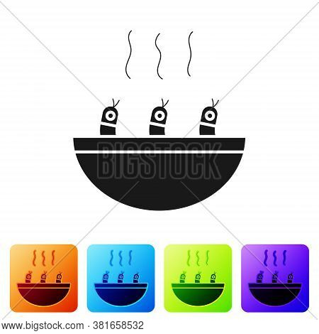 Black Soup With Shrimps Icon Isolated On White Background. Tom Yum Kung Soup. Set Icons In Color Squ