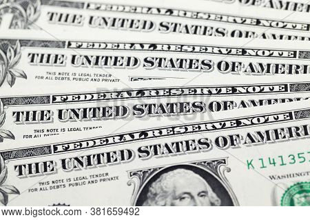 One American Dollar Close-up, A Wad Of Genuine Banknotes