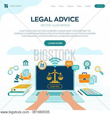 Online Legal Advice Concept. Labor Law, Lawyer, Attorney At Law. Lawyer Website On Laptop Screen. Pr