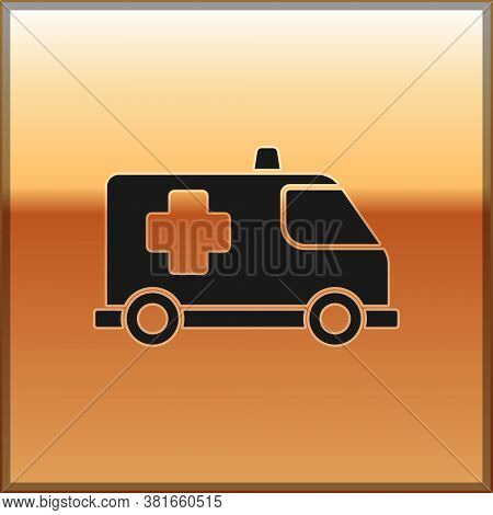 Black Ambulance And Emergency Car Icon Isolated On Gold Background. Ambulance Vehicle Medical Evacua