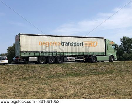 Almere, The Netherland - August 13, 2020: Oegema Transport Truck Parked By The Side Of The Road.