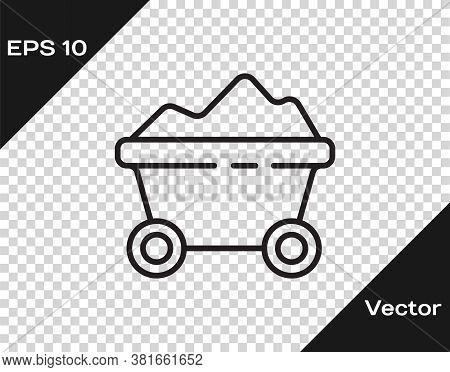 Black Line Coal Mine Trolley Icon Isolated On Transparent Background. Factory Coal Mine Trolley. Vec