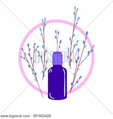 Natural Cosmetics Vector Illustration. Dark Glass Vial With Little Twig Sticking Out Of It. Handmade
