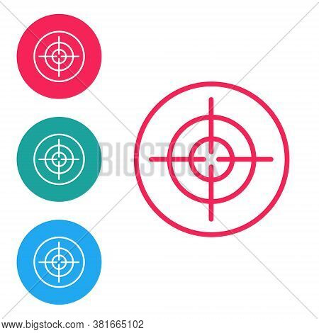 Red Line Target Sport Icon Isolated On White Background. Clean Target With Numbers For Shooting Rang