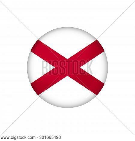 Icon Flag Of Alabama . Round Glossy Flag. Vector Illustration. Eps 10