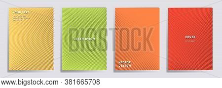 Semicircle Lines Halftone Grid Covers Vector Set. Digital Brochure Title Page Layouts. Notepad, Maga