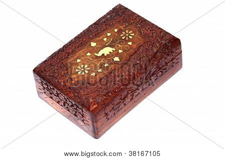 Casket, Box With Jewellery Isolated On White Background