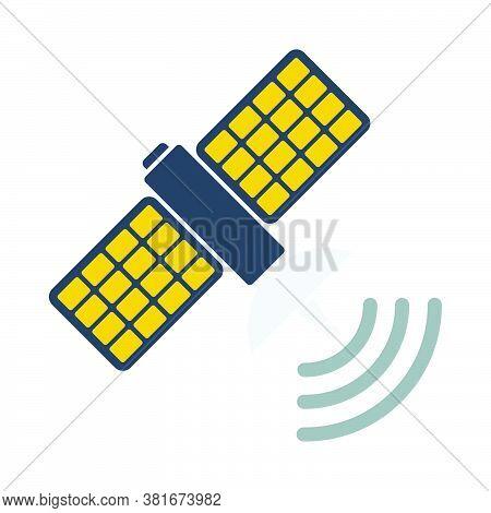 Satellite Icon. Flat Color Design. Vector Illustration.