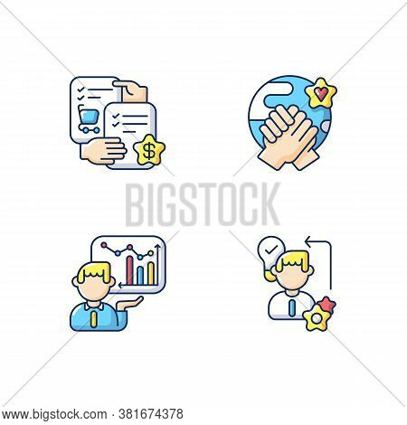 Business Skills Rgb Color Icons Set. Professional Competence. Selling Skills, Workers Diligence, Cor