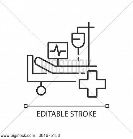 Intensive Care Linear Icon. Critical Care Medicine. Icu. Hospital Ward. Intensive Treatment. Thin Li