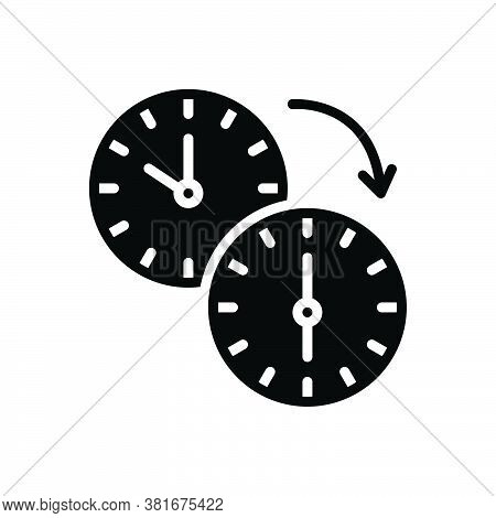 Black Solid Icon For Change Transformation  Modification Adjustment Variation Watch Move Clock-wise