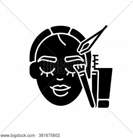 Brow Art Black Glyph Icon. Eyebrow Lamination And Tinting. Beauty Salon. Semi Permanent Eyebrows Mak