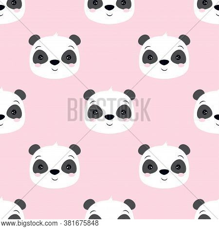 Cute Panda Seamless Pattern Isolated On Pink, Animal Background With Panda Faces For Kids, Vector Il
